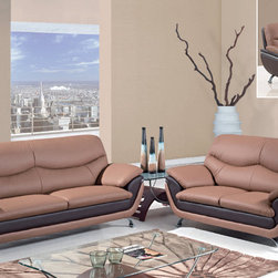 """Global Furniture - 3 PC Living Room Set in Tan/Brown Leather Match - Two-toned, plush seating and contemporary style is what you get in this light/dark brown bonded leather living room set. Finished with chrome legs this piece will make a wonderful addition to your living space.; Material Content: Leather Match/Metal Legs; Color: Tan/Brown/Chrome Legs; Weight: 324 lbs; Dimensions: Sofa: 83""""L x 38""""W x 37""""H; Loveseat: 65""""L x 38""""W x 37""""H; Chair: 47""""L x 38""""W x 37""""H"""