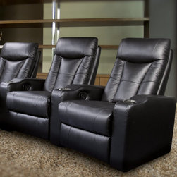"""Coaster - Pavillion Black Leather Home Theater Group - 600130-2 - Shop for Theater Seating from Hayneedle.com! Movie night at home will suddenly become sophisticated when you add the Pavillion Black Leather Home Theater Group to your den rec room or family room. Offering premium style and comfort these reclining theater seats are available as a set of two three or four to accommodate your family or intended guest list. This home theater group's captivating modern design includes adjustable headrests supportive cushioned seats and wide armrests.Covered in black top-grain leather match upholstery each home theater lounger features genuine top-grain leather where your body rests (seat backrest footrest armrests) and perfectly matched vinyl faux leather on the exterior surfaces. All loungers recline with a simple pull of a recessed lever located in the armrest. Extra padding makes the extendable footrests even more luxurious while built-in cup holders add convenience and a splash of contemporary flair with their black and metal chrome color. Sturdy interior frames are constructed of durable Asian hardwood for lasting strength. Some assembly required.Dimensions:2-seat lounger: 68W x 40.5D x 41H inches3-seat lounger: 101W x 40.5D x 41H inches4-seat lounger: 134W x 40.5D x 41H inchesSeat width: 22.44 inchesSeat height: 18.5 inchesArm height: 22.83 inchesAbout CoasterCoaster Company of America is incorporated in California and has been distributing """"ready to assemble"""" furniture since 1979. Known for innovatively designed beautifully manufactured durable and versatile furniture Coaster has a broad network of dealers across the U.S. and Mexico and operates permanent showrooms in North Carolina and California. With a trained staff of customer service specialists and product experts Coaster is ready to fill your needs for quality casual dining futons bedroom sets storage benches bunk beds occasional tables and much much more."""