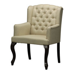 Sterling Industries - Sterling Industries Linen Tuffted Arm Chair (133-007) - Sterling Industries Linen Tuffted Arm Chair (133-007)