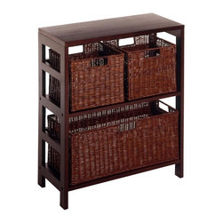 Winsome Wood - Espresso Finished Wood Storage Unit w Three R - Keep your home neat and clutter free with this handy storage unit. Two smaller rattan baskets are perfect for clothes, toys, and other modestly sized items, while the large one can hold linens or blankets. The sturdy wood construction and espresso finish complete the appeal. * Espresso finish. Beechwood, Rattan. Two sections. Wide shelf. Large storage basket. Two small storage baskets. Elegant yet functional. Assembly required. 11.25 in. L x 25.25 in. W x 29.25 in. H. 24 lbs