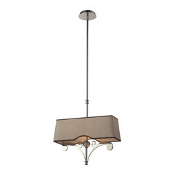 Elk Lighting - EL-31254/2 Linear 2-Light Pendant in Polished Nickel - These linear pendants offer a great alternative to a standard mini pendant and can accentuate a kitchen island or spaces that benefit from a slim design, robust decorative style, and rich finishes. The fabric shade of each fixture is custom designed to complement the metalwork creating a unique and free-flowing lighting experience.