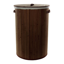 "Oriental Furniture - Bamboo Laundry Hamper - Dark Mocha - Simple and lightweight cylinder style clothes hamper crafted from high quality finished flat bamboo strips. Includes cotton fabric liner, fitted lid, and handles as shown. Bamboo furnishings are the wave of the future; hard as oak, light as pine, grows to maturity in six year, the most sustainable ""hardwood"" on Earth."