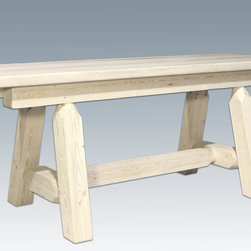 """Montana Woodworks - Homestead Plank Style Bench, 45"""", Lacquered - From Montana Woodworks, the largest manufacturer of handcrafted, heirloom quality rustic furnishings in America comes the Homestead Collection line of furniture products. Handcrafted in the mountains of Montana using solid, American grown wood, the artisans rough saw all the timbers and accessory trim pieces for a look uniquely reminiscent of the timber-framed homes once found on the American frontier. This uniquely designed plank style bench is just the right size to accompany the vastly popular Montana Woodworks 45"""" Square 4 Post Table (sold separately). Mix and match with dining side chairs or use it in the hall or foot of the bed for easy, comfortable seating. Seat depth approximately 12"""". Comes fully assembled. All Montana Woodworks products come with a 20-year limited warranty at no additional charge. Hand Crafted in Montana U.S.A.; Solid, U.S. grown wood; Timbers and Trim Pieces are Sawn Square for Rustic Timber Frame Design Appearance; Heirloom Quality; 20 Year Limited Warranty; Durable Build, Fit and Finish; Each Piece Signed By The Artisan Who Makes It; Solid Wood, Edge Glued Panels; Solid Lodge Pole Legs and Cross Support. Dimensions: 45""""W x 18""""D x 18""""H"""