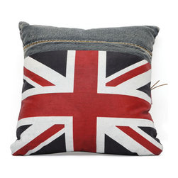 Zuo Modern - Zuo Cowboy Cushion in Blue Denim w/ UK Flag - Cowboy Cushion in Blue Denim w/ UK Flag by Zuo Modern Made from recycled denim fabric sewn into a whimsical design, the Cowboy Cushion in is a must for any room.   Cushion in (1)