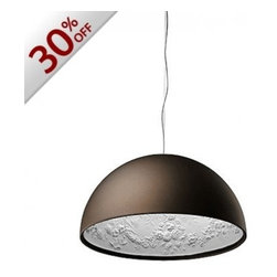 """Flos - Flos Skygarden S2 Large pendant light - rust - The Skygarden pendant light has been designed by Marcel Wanders from Flos. This pendant light provides direct light. Made with a plaster body, it has been textured with decorations inside, liquid-paint finish outside (rust  colored). Sale item in large e  (90 cm). Standard cable length on this fixture is 400cm. 1 x large, rust color version in stock and ready to ship!      Product Details:  The Skygarden pendant light has been designed by Marcel Wanders from Flos. This pendant light provides direct light. Made with a plaster body, it has been textured with decorations inside, liquid-paint finish outside (rust  colored). Sale item in large e  (90 cm). Standard cable length on this fixture is 400cm. 1 x large, rust color version in stock and ready to ship!  Details:     Manufacturer: Flos   Designer: Marcel Wanders   Made in: Italy   Dimensions: Height: 173.7"""" (441 cm) X Diameter: 35.4"""" (89.9 cm)   Light bulb: 1 X 250W incandescent   Material: Plaster"""