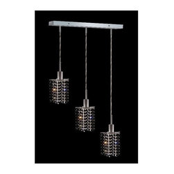 Elegant Lighting - Mini Jet Crystal Pendant w 3 Lights in Chrome (Royal Cut) - Choose Crystal: Royal Cut. 3 ft. Chain/Wire Included. Bulbs not included. Crystal Color: Jet (Black). Chrome finish. Number of Bulbs: 3. Bulb Type: GU10. Bulb Wattage: 55. Max Wattage: 165. Voltage: 110V-125V. Assembly required. Meets UL & ULC Standards: Yes. 14.5 in. D x 8 to 48 in. H (8lbs.)Description of Crystal trim:Royal Cut, a combination of high quality lead free machine cut and machine polished crystals & full-lead machined-cut crystals..SPECTRA Swarovski, this breed of crystal offers maximum optical quality and radiance. Machined cut and polished, a Swarovski technician¢s strict production demands are applied to this lead free, high quality crystal.Strass Swarovski is an exercise in technical perfection, Swarovski ELEMENTS crystal meets all standards of perfection. It is original, flawless and brilliant, possessing lead oxide in excess of 39%. Made in Austria, each facet is perfectly cut and polished by machine to maintain optical purity and consistency. An invisible coating is applied at the end of the process to make the crystal easier to clean. While available in clear it can be specially ordered in a variety of colors.Not all trims are available on all models.