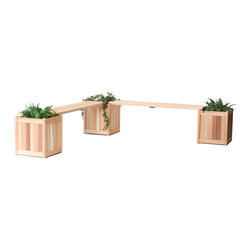All Things Cedar - All Things Cedar PLB60U-5P 5pc. Planter w/ Benches - Set includes 3-PL20U Planters with 2 - PLB60U Backless Bench Inserts    Dimensions:   (18 x 18 x 20) (60 x 13 x 1.5) in. (w x d x h)