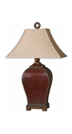Uttermost - Patala Crackled Red Table Lamp - Looking like aged, cracked leather, this amazing red lamp will add sophistication and elegance to your decor. The deep red finish has burnished edges and golden bronze highlights covered by a tan glaze. It sits on a beautiful bronze foot and the bell shade is topped with a bronze circular finial.