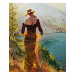 Steve Henderson Fine Art - Lady of the Lake Artwork -- Original Oil Painting - Original oil painting on canvas, 36 inches high by 30 inches wide. Gallery wrapped -- no frame needed -- and ready to hang. This is the original oil painting of a licensed work.