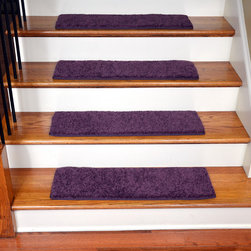 Dean Flooring Company - Dean Non-Slip, Tape Free, Pet Friendly, Carpet Stair Treads - Amethyst (15) - Quality stylish ultra premium stair gripper non-slip carpet stair treads by Dean Flooring Company. Extend the life of your high traffic hardwood stairs. Reduce slips/increase traction. Cut down on track-in dirt. Great for pets and pet owners. Made in the USA from quality, long lasting stain resistant carpeting with non-slip padded foam backing. Stands up great to high traffic. A fresh new look for your staircase. Do-it-yourself installation is quick and easy with our unique non-slip backing. Simply place your stair tread rugs on your staircase and go. No tapes, adhesives, staples, glue, or Velcro needed. And rest assured, they won't move and they won't damage your hardwood either. They are also simple and easy to remove as well with no sticky residue left behind. Each tread is finished on all four sides with attractive color matching binding tape. No bulky fastening strips. You may remove your treads for cleaning and re-attach them when you are done. Add a touch of warmth and style to your stairs today with new stair treads from Dean Flooring Company! We make our own stair treads at Dean Flooring Company and our products are not available from anyone else.