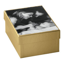 """Exposures - Memory Box - Personalization """"Catch the memorabilia hiding in your drawers and attic in this heavyweight memory box. A photo reproduced on the personalized memory box lid easily identifies whats inside. This photo memory box is perfect for storing or displaying photos and other keepsakes. Designate one photo box for each child so that report cards, ribbons, newspaper clippings and more all stay in one place or use to commemorate a building project or special event. Fantastic gift idea! Dimensions: 10 7/8"""" wide x 4 3/4"""" high x 7 13/16"""" deep. Features Heavyweight chipboard keepsake memory box Available in antique gold or black Photo reproduced on heavy linen paper affixed to top of box  """" Specifications 10 7/8"""" wide x 4 3/4"""" high x 7 13/16"""" deep"""