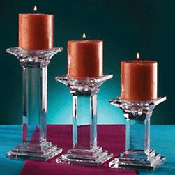 "Godinger Silver - Three Pillar Assorted Candlesticks - With a brilliance all its own, these graduated height candlesticks will make a dramatic and beautiful addition to your table. What better way to illuminate your dinner table then lighting up candles on these luxurious crystal candle pillars. This will make an impressive hostess or wedding gift. * Dimensions: 9"" 7"" 5"". * Pillar Base 3"""