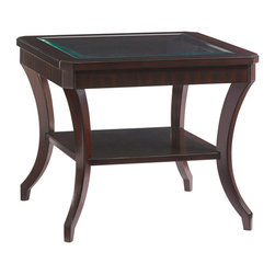 Lexington - Lexington Kengsington Place Hillcrest Lamp Table 708-953 - The wood framed top with faceted corners features a beveled glass insert, elegant saber legs and a shelf with black ebony inlay.