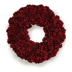 Winward Designs - Hydrangea Holiday Wreath - A splash of rich red is a warm way to welcome the holiday season. Hang this elegant wreath on your front door for a festive look. The permanent display of hydrangea blossoms will add a graceful touch to your holiday decor.