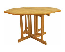 "Anderson Teak - Butterfly 47"" Octagonal Folding Table - This Butterfly Folding Table features of 47"" Round is very convenience and practical for any occasion. It is perfect for boating, restaurant, and caf_ where space is limited or the chairs are only required occasionally. Can be fold 1/2 round, fold completely or open in full round size."