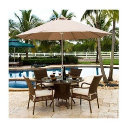 Hospitality Rattan - Grenada 5 PC Set w Round Table in Viro Fiber - Enjoy seating for four around the Grenada outdoor dining table. Chairs and table base are woven in Viro fiber, which is an eco-friendly material that won't be affected by weather, lotions or fading from the sun. In an antique brown finish, it's contemporary and casual. Include: 4 Arm Chairs & Round Table. Made of Aluminum Frame w All Weather Viro Fiber Wicker. Includes tempered frosted glass. Weather and UV resistant. No assembly required. Fully assembled five piece set. Sturdy aluminum legs for extra support. Arm chair: 24 in. W x 29 in. L x 36 in. H (11 lbs.). Round Dining Table: 50 in. W x 50 in. L x 30 in. H (100 lbs.)The Grenada contemporary patio set has a fully anodized aluminum frame and woven Viro fiber, which gives this collection a unique textured surface. The Grenada collection does not require cushions. The collection also features frosted tempered glass on all its tables, along with the ability to accommodate an umbrella with the patio dining set.