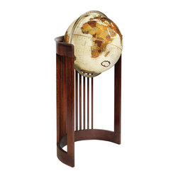 "Replogle - Barrel  Floor World Globe - inspired by Frank Lloyd Wright design - This unusual 16"" floor standing world globe features an open faced Bronze Metallic map.  Full-swing die cast meridian ring supports the globe and allows the viewer an easy access to all place names on this 16"" diameter fully up-to-date globe."