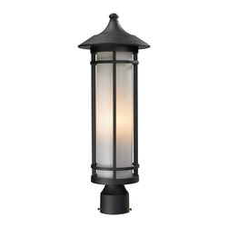 Z-Lite - Z-Lite Woodland Outdoor X-KB-MHP925 - Today's contemporary homes as well as homes of the craftsmen style are particularly well suited with the classic styling of this medium outdoor post head. This fixture has black finish with matte opal glass.