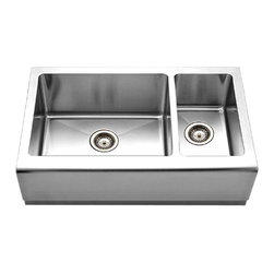 Houzer - Houzer EPO-3370SR 70/30 Double Bowl Undermount Sink W/ Bottom Grids and Strainer - Houzer Stainless Steel kitchen sink Farmhouse sink 16/18 gauge Epicure 70/30 Double Bowl Small Bowl Right.