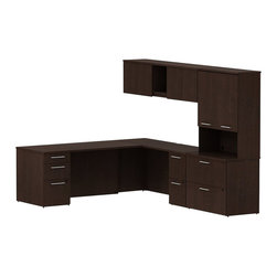 "Bush - Bush 300 Series 82"" L-Shape Desk with Storage in Mocha Cherry - Bush - office Sets - 300S071MR - Plenty of room and classic styling that fits ideally in any office environment with the BBF Mocha Cherry 300 Series 60""W L-Station Desk with Wall Mount Overhead Tall Overhead Storage with Doors Lateral File and Pedestal. Larger top surface lets you spread out. Two box drawers and one file drawer on one side plus two files drawers in the pedestal store files or office supplies. Wall Mount Overhead has open center face flanked by two-door enclosed storage. Tall Overhead offers two-door concealed storage to keep books or documents out of sight. Lateral File features two drawers on fully extendable drawer slides for easy access to back. All file drawers accommodate letter- legal or A4-size files. Wire grommets control unsightly cords and cables keeping desk and return surfaces clutter-free. Return complements the desk and offers additional storage in pedestal. Rich Mocha Cherry finish fits beautifully in executive spaces. Tough rugged work surfaces resist scratching stains dings and dents looking good for years. Includes BBF Limited Lifetime warranty."