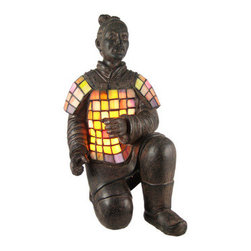 Stained Glass Chinese Terracotta Warrior Accent Lamp - The Terracotta Army or the `Terra Cotta Warriors and Horses`, is a collection of terracotta sculptures depicting the armies of Qin Shi Huang, the First Emperor of China. This beautiful stained glass accent lamp depicts one of the terracotta warriors on one knee. Measuring 16 inches tall, 8 inches wide and 9 inches deep, the lamp features an clay finished cold cast resin body, with the the warriors chest and shoulder made of marbled pink, purple and yellow stained glass. The lamp is brand new, never used or displayed. It uses one nightlight style bulb (not included). It makes a great gift idea. We have a very limited supply of these, so don`t delay. Get yours now!
