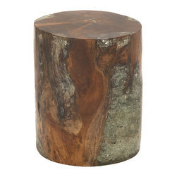 Natural Wood Teak Resin Foot Stool - Description: