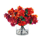 """Winward Designs - Bougainvillea Blossoms In Glass Cylinder Vase 18"""" - Bright and vibrant colors are bursting out over the edge of this classic glass cylinder vase. Bougainvillea is such a vibrant blossom, and there are zillions (approx.) in this design. 18 inches tall, 20 inches in diameter. Liquid Illusion faux water adds additional realism."""