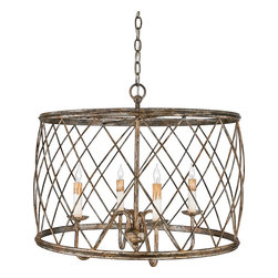 Quoizel - Quoizel RDY2823CS Dury Traditional Foyer Light - European in design yet versatile in appeal, Dury is a beautiful pendant. The crisscrossed bands add visual interest and the Century Silver Leaf finish is sure to compliment all types of decor styles.