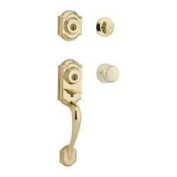 """KWIKSET CORPORATION - Montara Handle Set Bright Brass Smartkey - One piece handle set with single cylinder deadbolt and interior trim; 2 points of locking, on the deadbolt and the handle set, provide double the security; the adjustable through bolt at the bottom of the handle set allows for easy installation and provides you peace of mind knowing that it will adjust to fit the bottom hole in your door. With the arched design, the Montara handle set will add both security and style to your front door. 2-Point Locking for Increased Security; new easy fit technology _ adjusts to fit the hole in your door. ANSI/BHMA Grade 2 Certified Security featuring """"SmartKey"""" Re-key technology. The lock you can re-key yourself in seconds. Patented side locking bar technology offers improved security by protecting against loc k bumping, an attack technique used to defeat conventional pin and tumbler locks. Lifetime mechanical and finish warranty."""