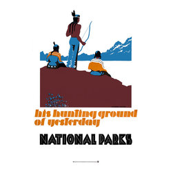 His Hunting Ground of Yesterday Print - His hunting ground of yesterday, National Parks poster by Dorothy Waugh. Publishedbetween 1930 and 1940.