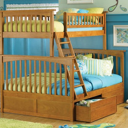 Atlantic Furniture - Columbia Twin Over Full Wood Bunk Bed w Flat - NOTE: ivgStores DOES NOT offer assembly on loft beds or bunk beds. Designed for durability. Two flat panel raised drawers. Two 14 piece slat kits. Mortise and tenon construction. Twenty six steel reinforcement points. Guard rails match panel design. Compliance with ASTM F-1427 Standard Consumer Safety Specification for Bunk Beds and the Government Code of Federal Regulations 1213 and 1513. Warranty: One year. Made from eco-friendly solid hardwood. Clearance from floor without trundle or storage drawers: 11.25 in.. 80.5 in. L x 44.25 in. W x 68.13 in. H. Assembly Instruction-1. Assembly Instruction-2. Flat Panel Drawers Assembly Instructions. Bunk Bed Warning. Please read before purchase.