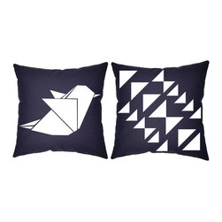 RoomCraft - RoomCraft 2pc Origami Pillow Covers/Cushion Set, Blue, 16x16 Inches, Origami Bir - FEATURES: