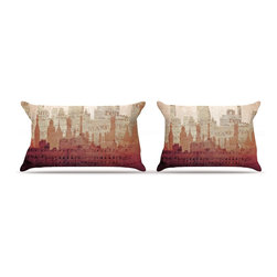 "Kess InHouse - Alison Coxon ""City"" Warm Tan Pillow Case, King (36"" x 20"") - This pillowcase, is just as bunny soft as the Kess InHouse duvet. It's made of microfiber velvety fleece. This machine washable fleece pillow case is the perfect accent to any duvet. Be your Bed's Curator."