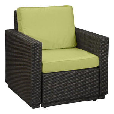 Home Styles - Home Styles Riviera Arm Chair in Green Apple - Home Styles - Outdoor Chairs - 580350 - Riviera Arm Chair with Green Apple colored Fabric -Finally!!  An economical solution for upscale outdoor furniture��_.ready-to-assemble synthetic resin wicker. Body construction consists of Cycroplene a synthetic resin wicker in a deep brown color with a gold streak design woven over rust-resistant powder-coated aluminum frames.  Cycroplene is a 100% recyclable moisture and weather resistant low maintenance material.  All pieces feature shaped legs with adjustable levelers to accommodate uneven surfaces.  All seating pieces bolt together for additional support and sturdiness. Cushions fabric is stain resistant fade resistant water repellent and requires very little maintenance.
