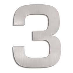 "Blomus - Signo Stainless Steel House Number - 3 - Let everyone know where your house is with these stainless steel address markers. Easy to mount with simple instructions included. Brushed matte finish.Each House Number stands off from wall by 0.5"" inches.Height Each: 6"" inchesWidth Each: 5"" inches(The number #1 digit house number measures 3.5"" inches width at widest point, 1"" inch leg.)"