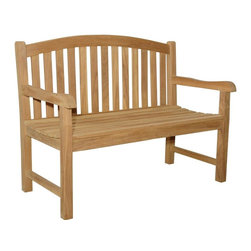 Anderson Teak - Chelsea Unfinished 2-Seater Curve Back Bench - 2-Seater. Teak wood construction. 47 in. L x 25 in. W x 37 in. H (45 lbs.). Seat height: 17 in.This beautiful in. curve back styling in. Chelsea 2-seater bench has been designed for house or backyard with a lot of curve pattern, the bench will never go out of style, but quietly blends with any decor. We have made subtle but careful design changes to ensure excellent back support. Place a single bench under your trees; use a group of benches and chairs for entertaining. Quality built for generations.