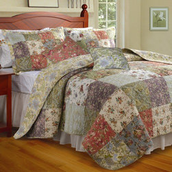 "Greenland Home Fashions - Blooming Prairie Bonus Quilt Set - Features: -Available in Twin, Full / Queen or King sizes. -Twin set includes one quilt, one sham and one decorative pillow. -Full/Queen and King set includes one quilt, two shams and two decorative pillows. -King set comes with 2 king-sized shams. -Quilt, sham, pillow shell: 100% Cotton. -Pillow filling: 100% Polyester. -Pillow filling: spot clean. -Intricate vermicelli quilting providing a rich surface texture. -Oversized for better mattress coverage. -Intensively quilted for style and durability. -Reversible all-over Jacobean floral print gives a two in one look. -Spreads a riot of garden colors across your bedroom scene. -Easy care machine washable. Specifications: -Twin: 68"" W x 88"" D. -Full / Queen: 90"" W x 90"" D. -King: 105"" W x 95"" D. -Sham: 20"" W x 26"" D. -King Sham: 20"" W x 36"" D. -Decorative Pillow: 16"" W x 16"" D."