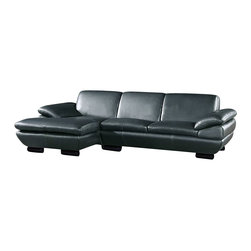 Beverly Hills Furniture Inc. - Prestige Modern Black Leather Sectional Sofa - Upholstered in black full leather, this sleek Prestige Sectional Sofa has padded arms, soft cushion and, wooden legs.