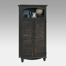 Sauder Harbor View Computer Armoire - Too bad computers aren't as elegant and beautiful as the Sauder Harbor View Computer Armoire, with its dark antiqued paint finish and quality construction. No problem, though: when not in use, the louvered doors conceal all your expensive equipment, wires, and sensitive work, revealing only the topmost shelf for decorations and mementos. When you're ready to work, swing open the doors, pull out the retractable work area and printer shelf to create a full, convenient office in seconds. The two interior shelves adjust to custom-fit your gear. You'll start looking for excuses to work.Additional dimensions:Overall: 33.75W x 21.75D x 67.75H inchesTop shelf: 10 inches highMonitor shelf: 19.375W x 21.625D 19.125H inchesCPU shelf: 10.375W x 21.675D x 20.625H inchesAbout SauderSauder is North America's leading producer of ready-to-assemble (RTA) furniture and the nation's fifth largest residential furniture manufacturer. Based in Archbold, Ohio, Sauder also sources furniture from a network of quality global partners, including a line of office chairs that complement its residential and light commercial office furniture. Sauder markets more than 30 distinct furniture collections in a full line of RTA furnishings for the home, entertainment, home office, bedroom, kitchen, and storage.Sauder is a privately held, third-generation, family-run business. The company prides itself on its awareness that all function and no fashion makes for a dull living space when it comes to home furnishing products. That's why Sauder's award-winning design team has produced more than 25 collections of stylish furniture that span the design spectrum. From minimalist modern or contemporary to classic 18th century or country styles, Sauder has what you're looking for. The company offers more than 500 items - most priced below $500 - that have won national design awards and generated thousands of letters of gratitude from satisfied consumers.