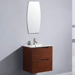 "Vigo - 24 "" Suzetta single Bathroom Vanity with Mirror - The VIGO Suzetta is a luxurious wall mounted art deco inspired style vanity with 2 large drawers under the sink both with soft closing hardware.; Mirror is a sleek vertical oblong shape with a clean edge.; Cabinet is made of a quality constructed engineered wood with wood veneers in a wenge horizontal-grain finish, which consists of an anti-scratch paint surface for enhanced durability and frequent use.; Vanity is fabricated for wall mount installation with all mounting hardware included.; Contains one white, top-mount ceramic sink with a single hole for a faucet; Cabinet is shipped assembled.; Solid brass, chrome plated drain assembly included; Includes a mirror; Mirror measures: 31 1/2""H x 15 3/4""W x 3/8"" D; 5 Year Limited Warranty; Dimensions: 32""H x 47""W x 40""D"