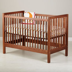 "American Walnut Andersen Baby Crib - Sometimes walnut can be a little too ""country,"" but in this modern shape, it takes on a new look!"