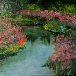 """""""Along The Banks, Painting"""" - I enjoyed all the different greens in this scene with just a splash of pink. The painting was done with a palette knife leaving the surface very textural."""