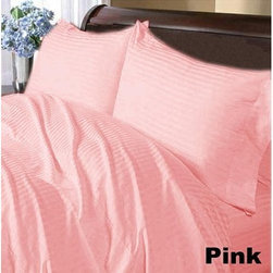 SCALA - 600TC Stripe Pink Full XL Flat Sheet & 2 Pillowcases - Redefine your everyday elegance with these luxuriously super soft Flat Sheet . This is 100% Egyptian Cotton Superior quality Flat Sheet that are truly worthy of a classy and elegant look.