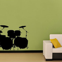 StickONmania - Drum Set Sticker - A cool vinyl decal wall art decoration for your home  Decorate your home with original vinyl decals made to order in our shop located in the USA. We only use the best equipment and materials to guarantee the everlasting quality of each vinyl sticker. Our original wall art design stickers are easy to apply on most flat surfaces, including slightly textured walls, windows, mirrors, or any smooth surface. Some wall decals may come in multiple pieces due to the size of the design, different sizes of most of our vinyl stickers are available, please message us for a quote. Interior wall decor stickers come with a MATTE finish that is easier to remove from painted surfaces but Exterior stickers for cars,  bathrooms and refrigerators come with a stickier GLOSSY finish that can also be used for exterior purposes. We DO NOT recommend using glossy finish stickers on walls. All of our Vinyl wall decals are removable but not re-positionable, simply peel and stick, no glue or chemicals needed. Our decals always come with instructions and if you order from Houzz we will always add a small thank you gift.