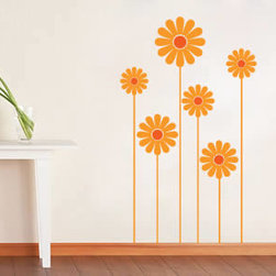 Floral wall decals - If you are looking to decorate your space in a practical, feminine way without the fuss this is the perfect wall decal for you. This set of 6 daisies and their stems is a feminine yet simple design. This removable wall sticker comes in a bi-color option which means you can choose to feature two different colors: one for the center of the flowers, and another one for the petals and stems.