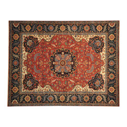 Antiqued Heriz Recreation 8x10 Hand Spun Wool Hand Knotted Oriental Rug SH14730 - This collection consists of fine knotted rugs.  The knots per square inch means more material in the rug as well as more labor.  This leads to a finer rug and a more expoensive rug.  Classical and traditional persian motifs are usually used as designs in these rugs.