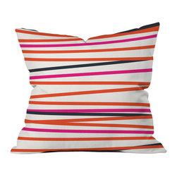 DENY Designs - Khristian A Howell Crew Stripe Warm Outdoor Throw Pillow, 18x18x5 - Do you hear that noise? it's your outdoor area begging for a facelift and what better way to turn up the chic than with our outdoor throw pillow collection? Made from water and mildew proof woven polyester, our indoor/outdoor throw pillow is the perfect way to add some vibrance and character to your boring outdoor furniture while giving the rain a run for its money.