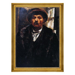 """Lovis Corinth-16""""x24"""" Framed Canvas - 16"""" x 24"""" Lovis Corinth Self Portrait in a Fur Coat and a Fur Cap framed premium canvas print reproduced to meet museum quality standards. Our museum quality canvas prints are produced using high-precision print technology for a more accurate reproduction printed on high quality canvas with fade-resistant, archival inks. Our progressive business model allows us to offer works of art to you at the best wholesale pricing, significantly less than art gallery prices, affordable to all. This artwork is hand stretched onto wooden stretcher bars, then mounted into our 3"""" wide gold finish frame with black panel by one of our expert framers. Our framed canvas print comes with hardware, ready to hang on your wall.  We present a comprehensive collection of exceptional canvas art reproductions by Lovis Corinth."""
