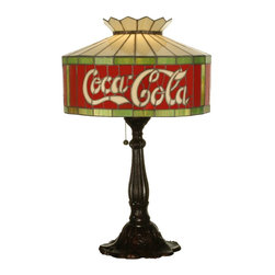 "Meyda Tiffany - Meyda Tiffany Antique Reproductions Table Lamp in Tiffany Items - Shown in picture: Coca-Cola Table Lamp; One Of The Most Recognizable And Iconic Symbols Of Our Time ""Coca - Cola"" A True American Original Has Teamed Up With Another True American Original ""Meyda Tiffany"" To Offer These Beautiful One Of A Kind Stained Glass Table Lamps."