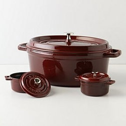 "Anthropologie - Staub La Cocotte Set - Set of threeCast iron, enamelHand washLarge: 6""H, 15""W, 10""DMinis: 2.5""H, 5"" diameter eachFrance"